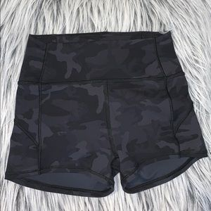 Lululemon tight shorts. Black camouflage.